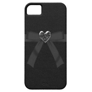 Caja negra linda del iPhone 5 del corazón del arco iPhone 5 Protectores