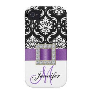 Caja negra púrpura personalizada del iPhone 4 del  Vibe iPhone 4 Fundas