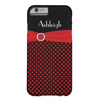 Caja negra, roja personalizada del iPhone 6 del Funda De iPhone 6 Barely There