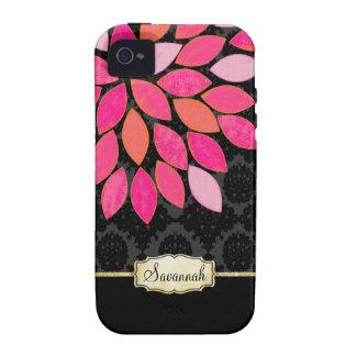 Caja negra rosada anaranjada personalizada del iPh iPhone 4/4S Carcasas