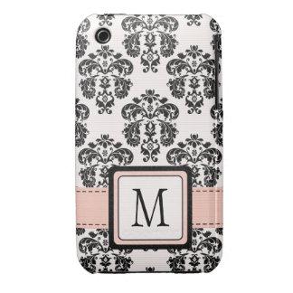 Caja negra rosada con monograma del iPhone 3 del Case-Mate iPhone 3 Cárcasa