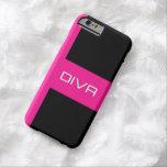Caja negra rosada de la diva iPhone6 Funda De iPhone 6 Barely There