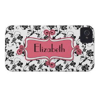 Caja negra rosada personalizada del iPhone 4 del d iPhone 4 Case-Mate Protectores