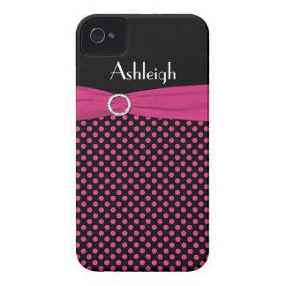 Caja negra, rosada personalizada del iPhone 4 del  iPhone 4 Carcasa