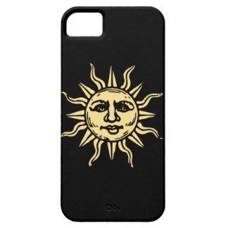 Caja negra sonriente feliz del iPhone 5 de Sun iPhone 5 Funda