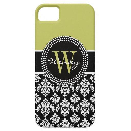 Caja negra verde inicial personalizada del damasco funda para iPhone SE/5/5s