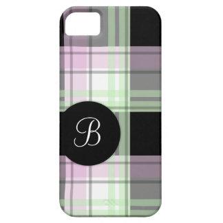 Caja negra verde rosada del iPhone 5 del monograma iPhone 5 Cárcasas