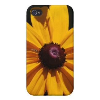 Caja negra y amarilla del iPhone 4 de la flor iPhone 4/4S Carcasas