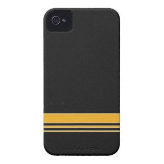 Caja negra y amarilla del iPhone 4 de la raya de Case-Mate iPhone 4 Fundas