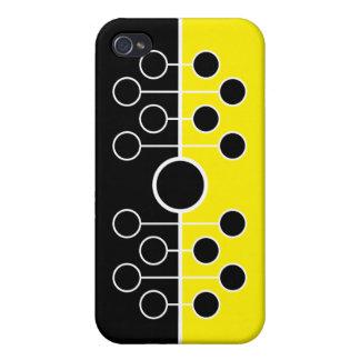 Caja negra y amarilla del iPhone 4 iPhone 4 Protectores