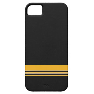 Caja negra y amarilla del iPhone 5 de la raya de iPhone 5 Funda