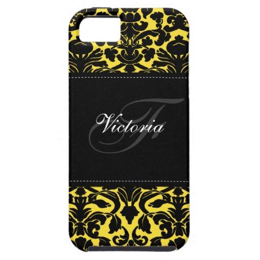 Caja negra y amarilla del monograma del damasco de iPhone 5 Case-Mate carcasas