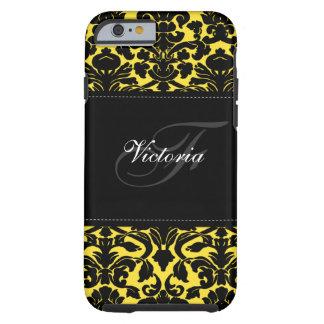 Caja negra y amarilla del monograma del damasco funda para iPhone 6 tough