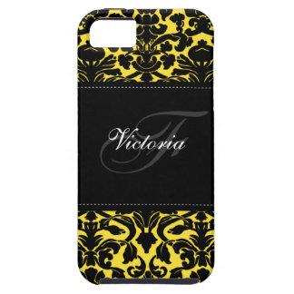 Caja negra y amarilla del monograma del damasco iPhone 5 fundas