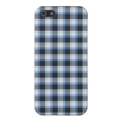 Caja negra y azul de la tela escocesa del diseño i iPhone 5 cobertura
