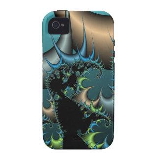 Caja negra y azul fresca del iPhone 4 del fractal Case-Mate iPhone 4 Fundas