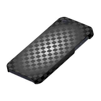 Caja negra y blanca abstracta del tablero de damas iPhone 5 carcasas