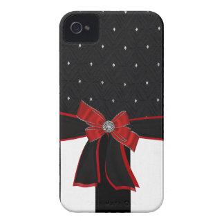 Caja negra y blanca de Iphone del diamante artific Case-Mate iPhone 4 Cárcasa