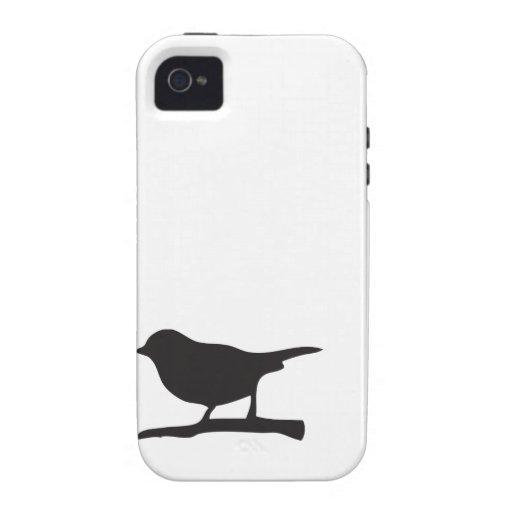 Caja negra y blanca de la rama del pájaro del iPhone 4/4S carcasa