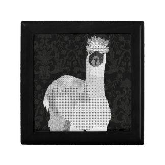 Caja negra y blanca del arte de la alpaca joyero cuadrado pequeño