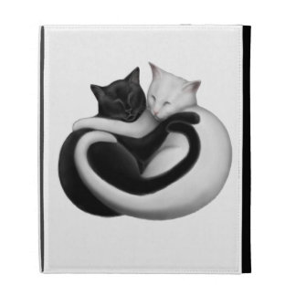 Caja negra y blanca del iPad de los gatos del amor