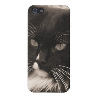 Caja negra y blanca del iPhone 4 del gato de la mu iPhone 5 Funda