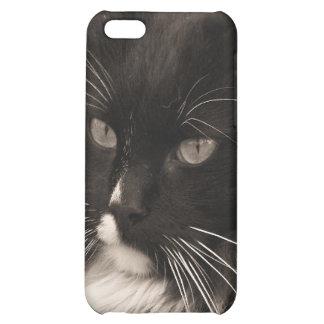 Caja negra y blanca del iPhone 4 del gato de la mu