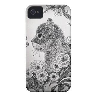 Caja negra y blanca del iPhone 4 del gato iPhone 4 Case-Mate Protector