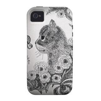 Caja negra y blanca del iPhone 4 del gato Funda iPhone 4