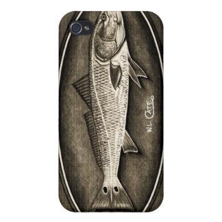 Caja negra y blanca del vintage de los salmones de iPhone 4 cobertura