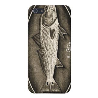 Caja negra y blanca del vintage de los salmones de iPhone 5 fundas
