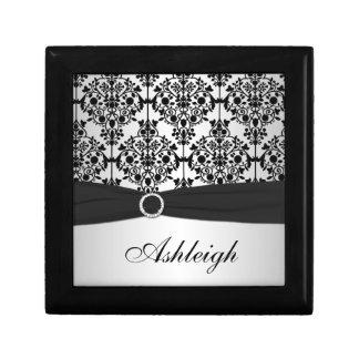 Caja negra y de plata personalizada de la baratija cajas de recuerdo