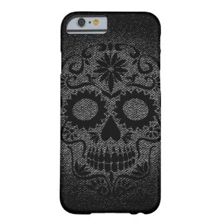Caja negra y gris del cráneo del iPhone 6/6s Funda Barely There iPhone 6