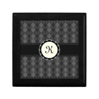 Caja negra y gris del monograma de los argyles de  cajas de recuerdo