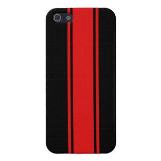 Caja negra y roja del iPhone 5 de la raya que comp iPhone 5 Funda