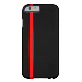 Caja negra y roja del iPhone 6 de la raya que Funda De iPhone 6 Barely There