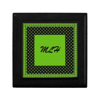 caja, negro y verde de regalo del monograma cajas de regalo