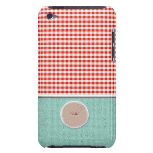 Caja neutral texturizada azul rojo del botón de la Case-Mate iPod touch coberturas