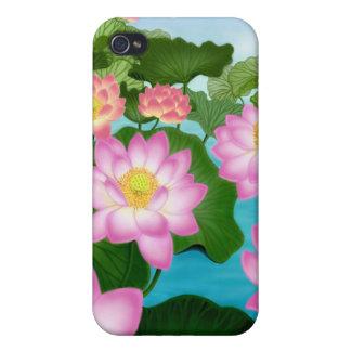 Caja oriental de la mota de las flores de Lotus iPhone 4 Fundas