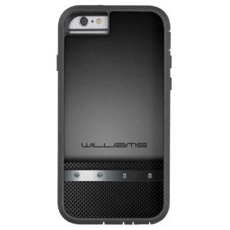 caja oscura con la placa y los tornillos funda tough xtreme iPhone 6