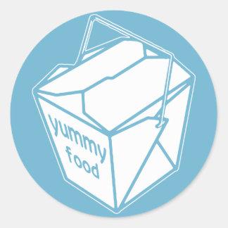 Caja para llevar de la comida deliciosa pegatina redonda