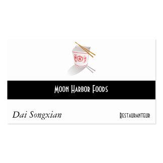 Caja para llevar del restaurante chino tarjetas de visita