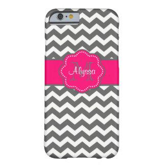 Caja personalizada Chevron gris oscuro y rosada Funda De iPhone 6 Barely There