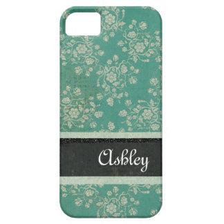 Caja personalizada damasco azul floral del iPhone iPhone 5 Carcasas