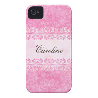 Caja personalizada damasco rosado de Blackberry Case-Mate iPhone 4 Protectores