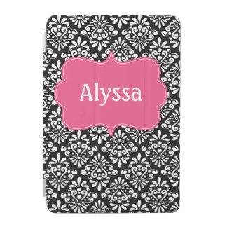 Caja personalizada damasco rosado negro cover de iPad mini