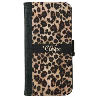 Caja personalizada de la cartera del leopardo para carcasa de iPhone 6