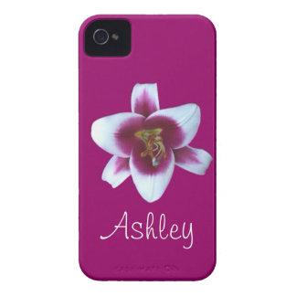 Caja personalizada del iPhone 4 de la flor púrpura iPhone 4 Case-Mate Protectores