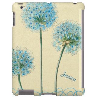 Caja personalizada floral azul del iPad del vintag