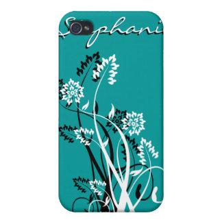 Caja personalizada floral negra y blanca de IPhone iPhone 4 Coberturas